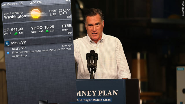 Panic! Romney VP app sends tease