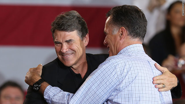 Perry back to Iowa Fair, now stumping for Romney
