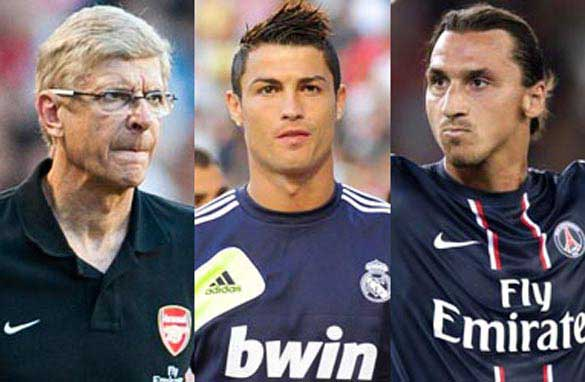 Arsene Wenger, left, Cristiano Ronaldo, center, and Zlatan Ibrahimovic will be key figures this season.