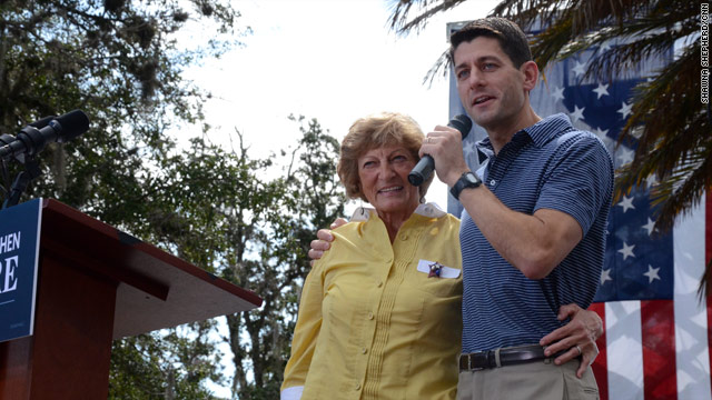 Ryan highlights his mom in attacking Obama