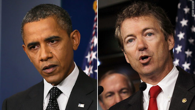 Obama, Sen. Paul battle in weekly addresses