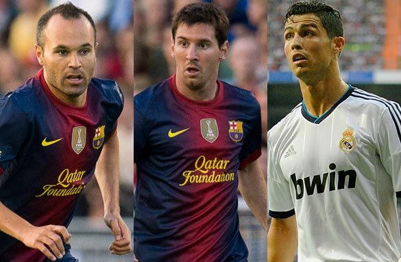 Andres Iniesta, left, Lionel Messi, center, and Cristiano Ronaldo are vying to be named Europe&#039;s best footballer.