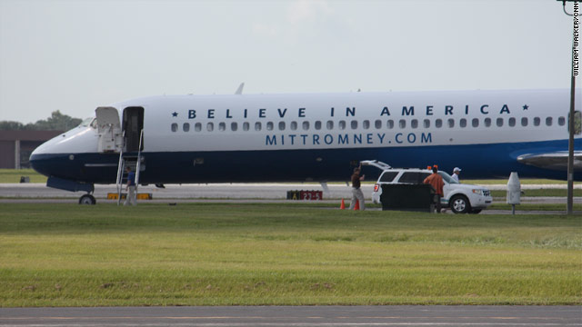 First on CNN: Romney's airplane, now with logo