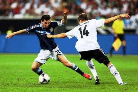 Messi (left) has scored 10 goals in six games for Argentina.