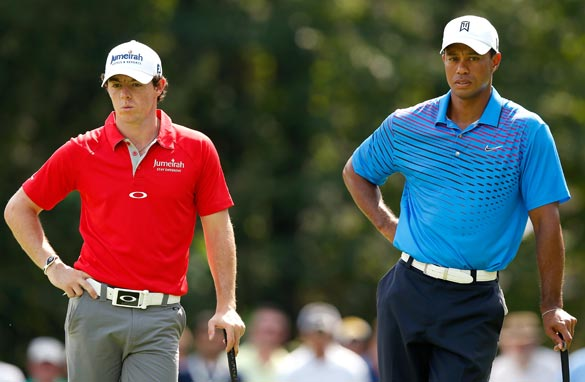 Rory McIlroy (left) and Tiger Woods were paired together at last weekend&#039;s Tour Championship.