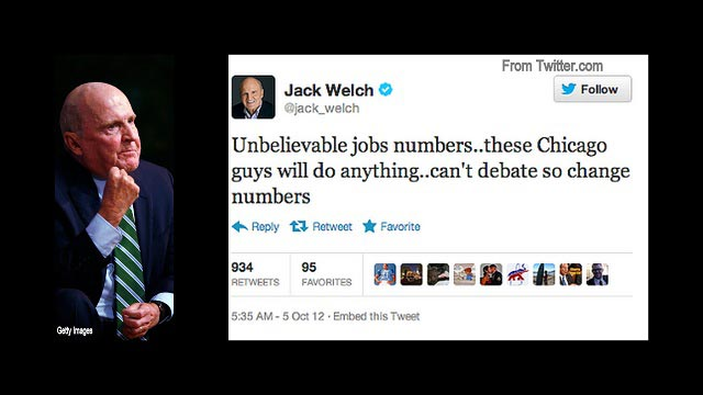 Tonight on 360: Jack Welch&#039;s Conspiracy Theory on Jobs Report
