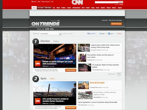CNN Unveils CNN Trends Fueled by Zite