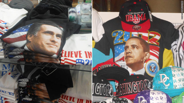 Election souvenirs: T-shirts, buttons, bumper stickers and toilet paper