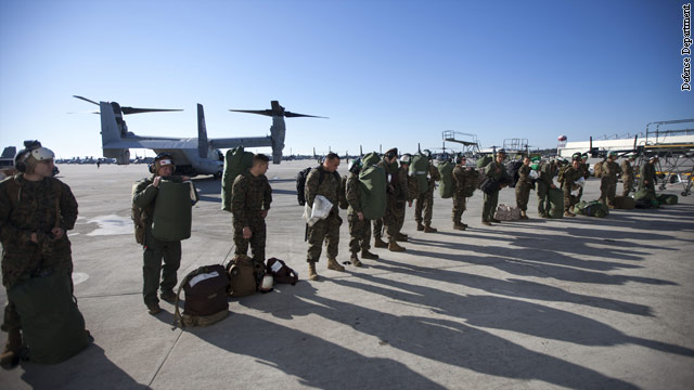Military flies power trucks, crews to states hard-hit by Sandy