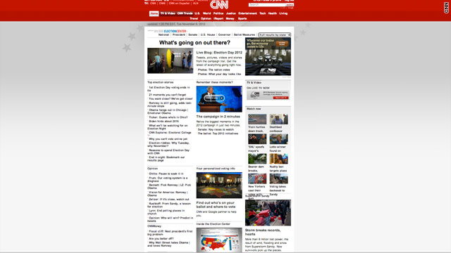 New Home Page for CNN.com on Election Day