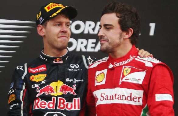 Sebastian Vettel (left) or Fernando Alonso (right) will join an elite band of drivers. (Getty Images)