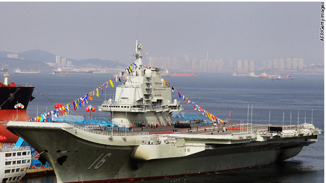 China lands first jet on aircraft carrier