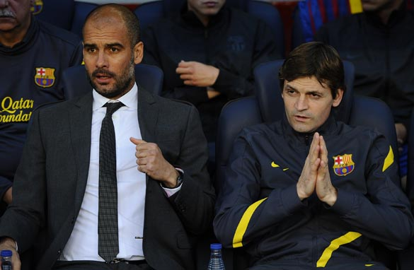 Master and the apprentice: Vilanova assumed Guardiola&#039;s mantle in June. (Getty Images)