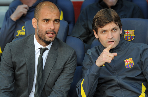 Pep Guardiola, left, has been linked with a return to Barcelona after a health scare for his successor Tito Vilanova.