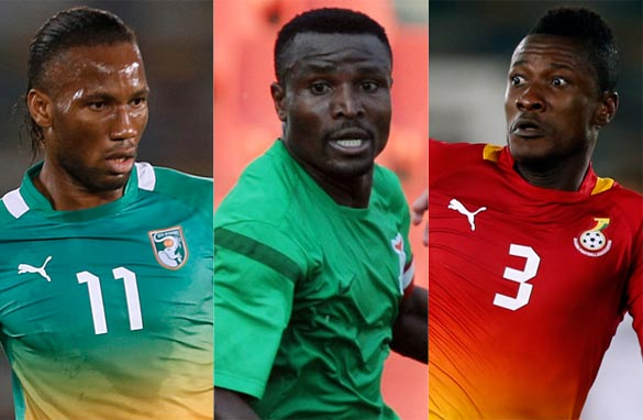 Didier Drogba, Christopher Katongo and Asamoah Gyan will star at the 2013 CAN. (Getty Images)