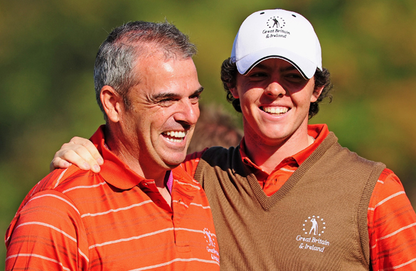 Paul McGinley, left, with a young Rory McIlroy during the 2009 Seve Trophy in Paris. (Stuart Franklin/Getty Images)