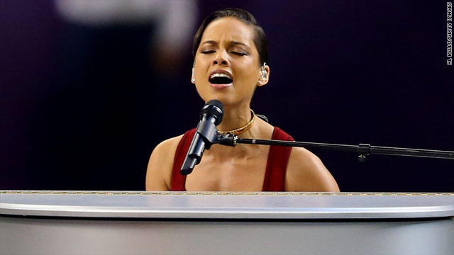 Alicia Keys gets Super Bowl off to fiery start