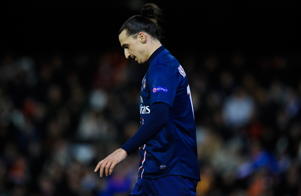 Zlatan Ibrahimovic was sent off during PSG's win over Valencia (Getty Images).