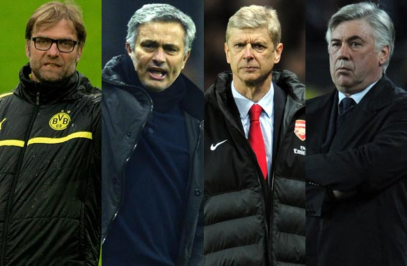 Jurgen Klopp, Jose Mourinho, Arsene Wenger and Carlo Ancelotti could all be on the move. (Getty Images).