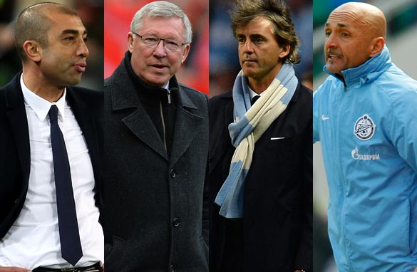 From left to right: Roberto Di Matteo, Alex Ferguson, Roberto Mancini and Luciano Spalletti. (Getty Images)