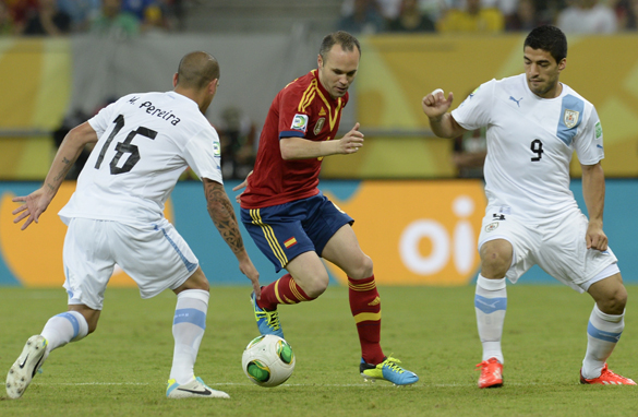 Andres Iniesta was outstanding for Spain in the 2-1 Confederations Cup win over Uruguay. (Getty Images).