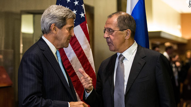 Putin looks on as Kerry and Lavrov meet at UN