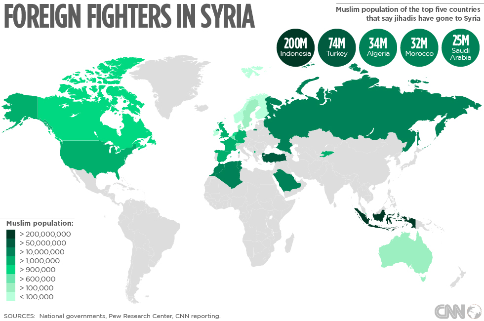 Muslim Map Of America 900.Syria S Foreign Jihadis Where Do They Come From Cnn Com
