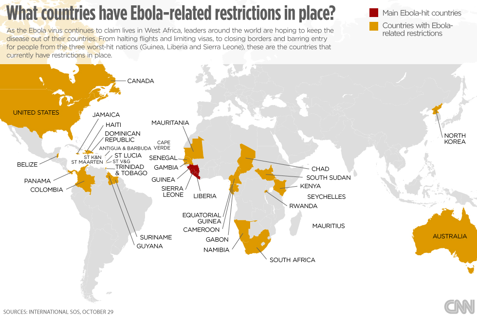 Ebola Virus Nations With Travel Restrictions In Place Cnn Com