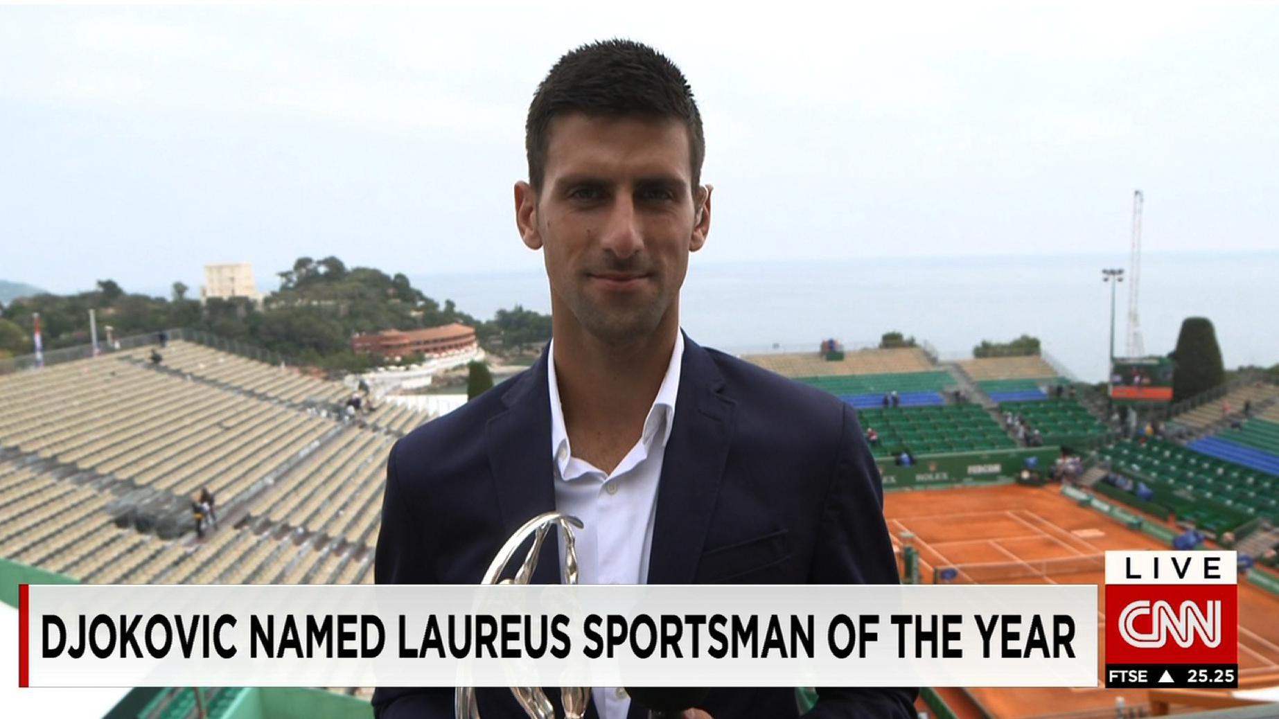 Novak Djokovic talks to CNN about winning Laureus Sportsman of the Year prize, chances at Roland Garros