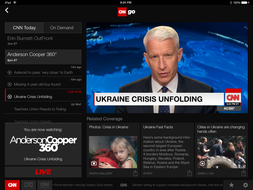 CNN World News Picture: CNNgo Adds CNNi Live Stream