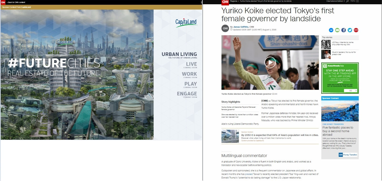 Asia real estate company CapitaLand is one of the first brands to use the new solution from CNN International Commercial for native advertising placement and a branded content hub
