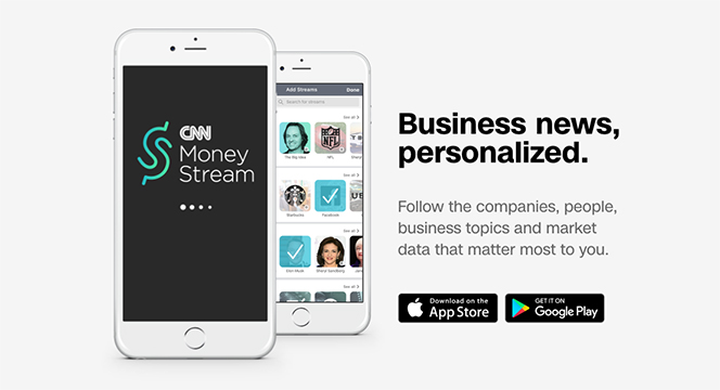 Turner and CNN Unveil CNN MoneyStream — A Personalized Business News App