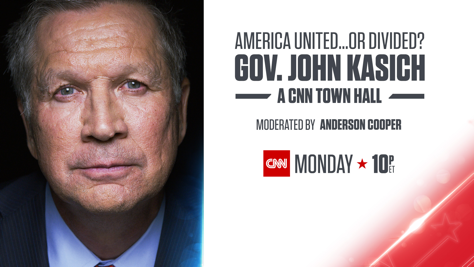CNN to Host Town Hall with John Kasich on April 24