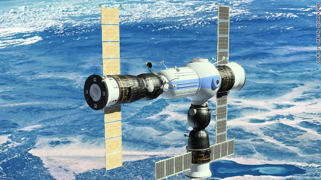 An artist's rendering of what the completed Commercial Space Station will look like.