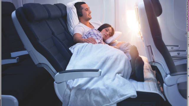Air New Zealand's Skycouch has retracting arms, extending seat bases and lengthening seatbelts so you can buckle up when reclining.