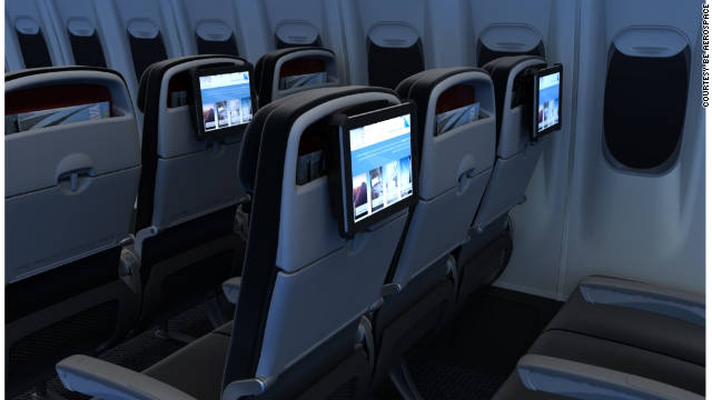 Jetstar has an integrated bracket so that an iPad can be snapped onto the back of the seat in front, creating a TV-like screen.