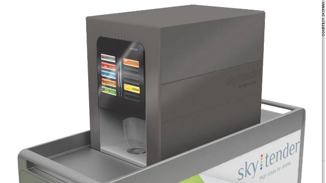 Via a touchscreen, the Skytender uses syrups, water and a carbonation pellet to produce almost three dozen different drinks.