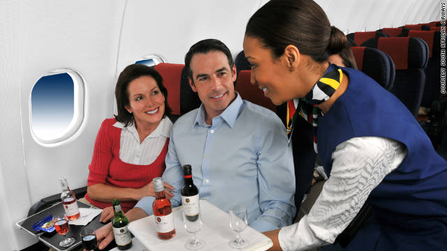 South African Airways offers grab-and-go juice or water bottles at the galley, two full meals and a snack with three different options, and a full, gratis bar stocked with South African wines.
