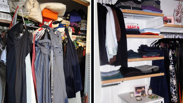 Pam Swidler's closet, before (left) and after a cleanse with author Jill Martin on