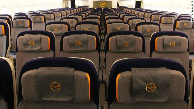 The economy class of Lufthansa's Airbus A380, with 17-inch-wide seats, according to Seatguru.com. Would an extra inch help?