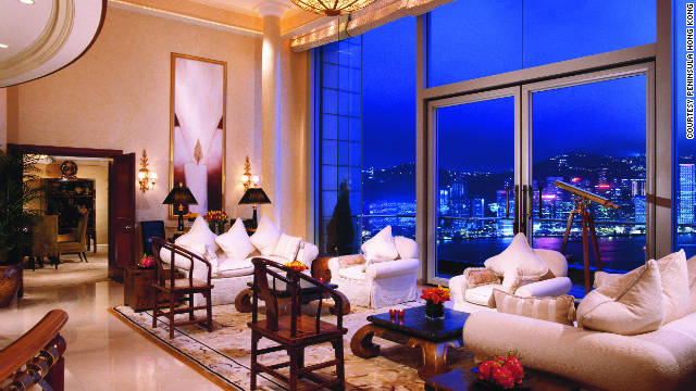 CNNGo spotlights some of the world's most expensive hotels. At more than 371 square meters, The Peninsula suite, on the 26th floor of The Peninsula Hotel, provides the most stunning vistas over Victoria Harbour.