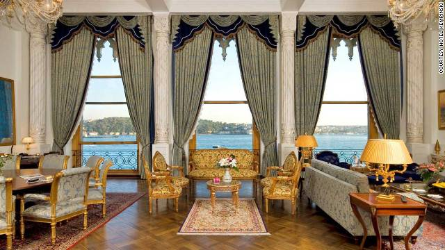 The Sultan's Suite in the iraan Palace Kempinski overlooks the Bosphorus and comes with private butler service, opulent chandeliers, period furniture and fine art.