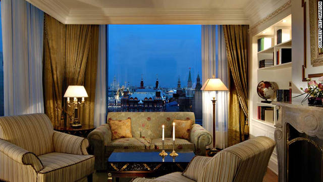 The floor-to-ceiling windows in the Ritz-Carlton Suite in Moscow's Ritz-Carlton frame an unparalleled view of the Kremlin, Red Square, St. Basil's Cathedral and Christ the Savior Cathedral.
