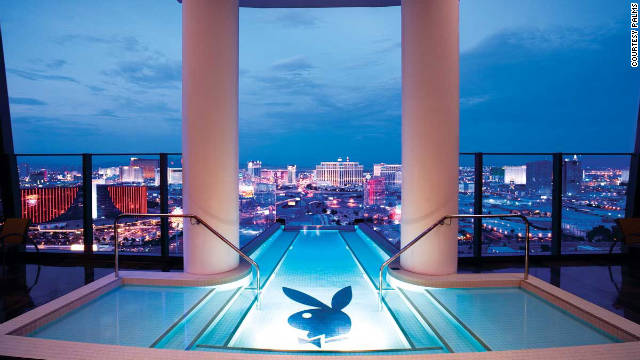 The Hugh Hefner Sky Villa, high in the Palms' Fantasy Tower in Las Vegas, is fitted out with everything Playboy.