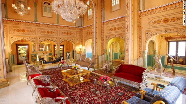 The Presidential Suite at The Raj Palace Hotel in Jaipur, India, was a former Maharaja's residence. At nearly 1,500 square meters, the suite is one of the biggest in Asia.