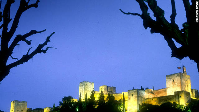 A view of the Alhambra at night.
