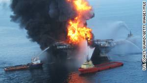 Fireboats battle a blaze at the offshore oil rig Deepwater Horizon in April 2010 in the Gulf of Mexico.