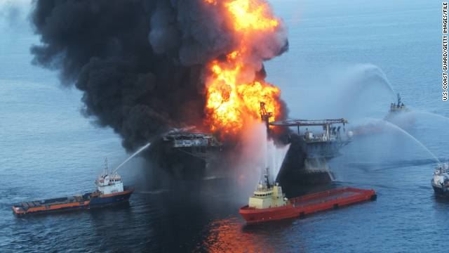 Fire boats battle a fire at the off shore oil rig Deepwater Horizon on April 21, 2010, in the Gulf of Mexico.
