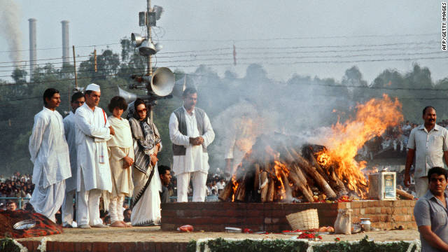 Late Indian premier, Rajiv Gandhi, at his mother Indira Gandhi's cremation, near New Delhi on November 3, 1984.