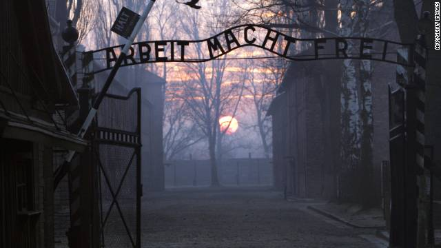 The gates of Auschwitz-Birkenau, the largest and most notorious concentration and extermination camp of Germany's Nazi regime. Declared a UNESCO World Heritage Site in 1979, 1.5 million people, the majority of them Jewish, were starved, tortured and murdered within its walls.